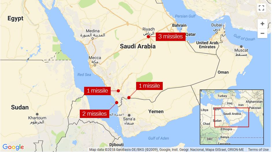 Arabia Saudita Intercepta y Destruye 7 Misiles de Yemen